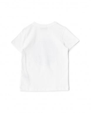 ホワイト/ブラック サークルメッセージプリントTシャツ見る