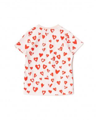 ピンク/レッド  ランダムハートプリントTシャツ見る