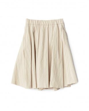 ベージュ  麻混ストライプスカート見る