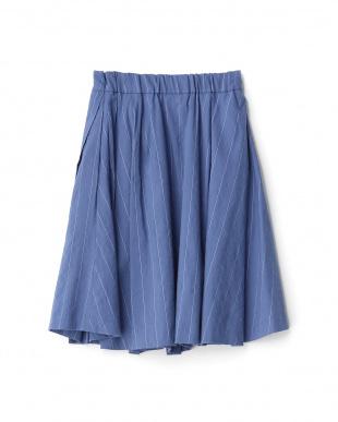 ブルー  麻混ストライプスカート見る