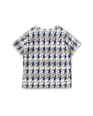 ネイビーブルー  ドールプリントTシャツ見る