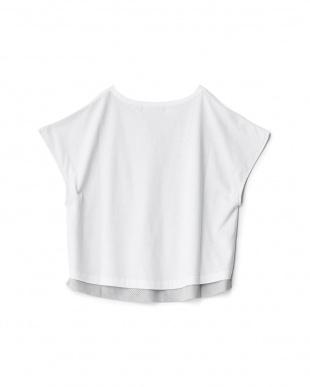 ホワイト  メッシュ付きTシャツ見る