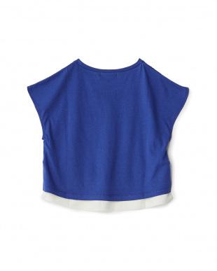 ブルー  メッシュ付きTシャツ見る