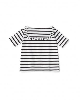 ホワイト/ブラック  フリル使いボーダーTシャツ見る