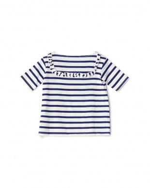 ホワイト/ブルー  フリル使いボーダーTシャツ見る