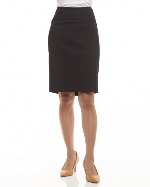 ブラック ストレッチヘリンボーンスカート見る