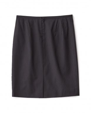 ブラックネイビー系  セーブルストライプタイトスカート見る