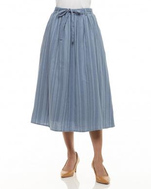 ブルー  ランダムストライプギャザースカート見る