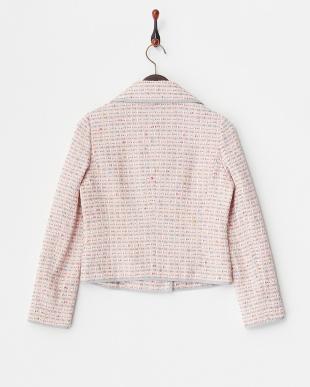 ピンク Bテーラードツイードボーダー刺しゅうジャケット見る