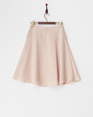 ピンク ミディ丈フレアスカート見る