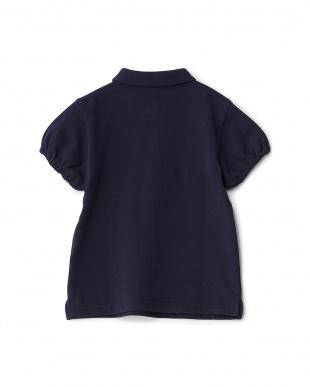 ネイビー  カノコ ショールカラーショートスリーブポロシャツ KIDS見る