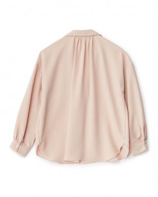 ピンク  胸ポケットスキッパーシャツ見る