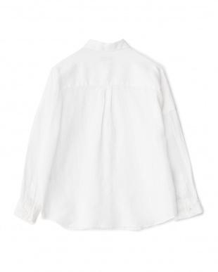ホワイト  2WAYデザイン切り替えシャツ見る
