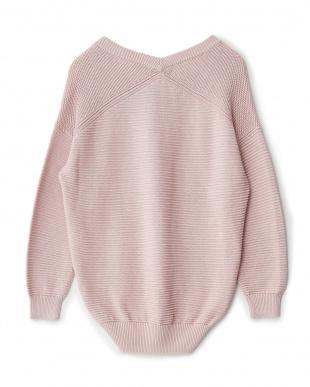 ピンク  パール編みレーヨン混ニットトップス見る