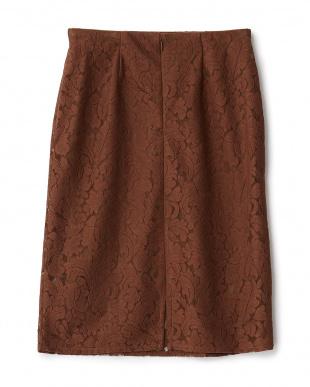 ブラウン  レースタイトスカート見る