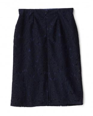 ネイビー  レースタイトスカート見る