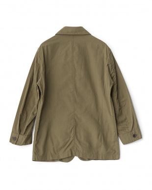オリーブ  リネン混7スリーブ型ジャケット見る