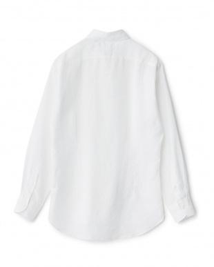ホワイト リネンソリッドボタンダウンシャツ見る