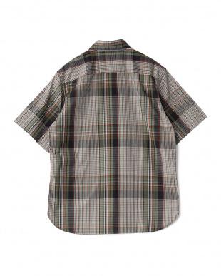 オリーブ  ビッグチェックレギュラーカラーダストマンショートスリーブシャツ見る