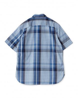 ネイビー  ビッグチェックレギュラーカラーダストマンショートスリーブシャツ見る