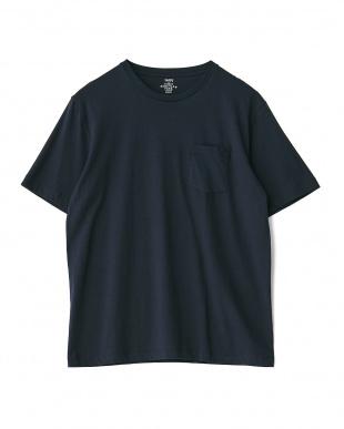 ダークブルー(ネイビー・ボーダー)  PERUVIAN PIMA COTTON 2パック ポケットTシャツ見る