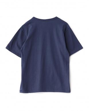 ネイビー  プリントクルーネックTシャツ見る