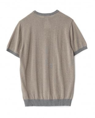 ダークグレー  リブボーダーニットTシャツ見る