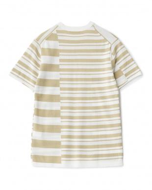 ベージュ  クレイジーボーダーニットTシャツ見る