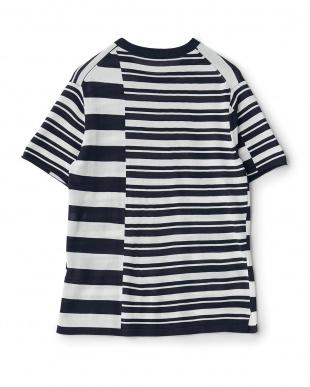 ネイビー  クレイジーボーダーニットTシャツ見る
