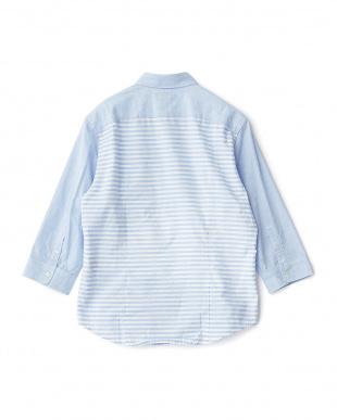 ブルー  ランダムパッチワーク7分袖シャツ見る
