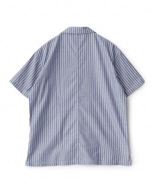 ブルー ストライプ  リラックスシャツ見る