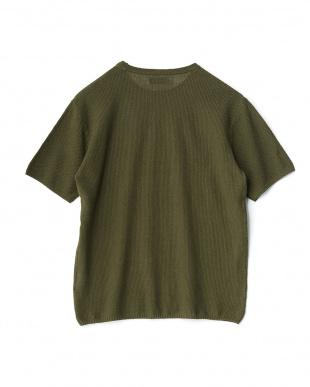 オリーブ  コットンリネンニットTシャツ見る