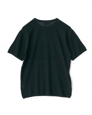 ネイビー  コットンリネンニットTシャツ見る