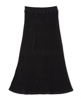 ブラック  16SSカスリガーゼパイルマキシスカート見る