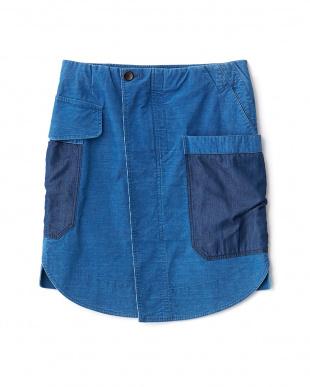 ライトブルー  Mixインディゴ スカート見る