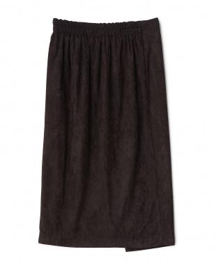 クロ  バイカラーラップ風スカート見る