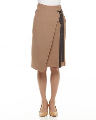 キャメル リボン付きラップ風ニットスカート見る