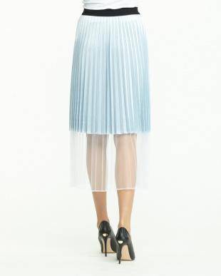 サックス 裾切替プリーツスカート見る