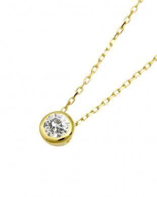 K18YG  天然ダイヤモンド0.1ct フクリン 一粒ペンダント見る