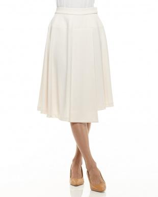 ホワイト  異素材使いフレアスカート見る
