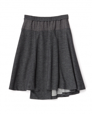 ブラック系  異素材使いフレアスカート見る