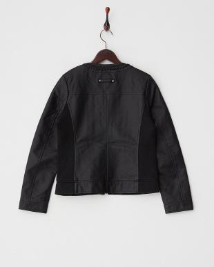 ブラック  サイドリブ切り替え三つ編みフェイクレザージャケット見る