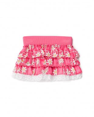 ピンク 花柄ティアードスカート見る
