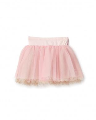 ピンク ボリュームチュールスカート見る