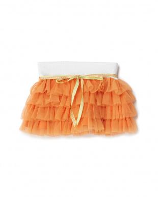 オレンジ モチーフリボンベルト付きチュールスカート見る