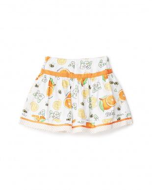 シロ モチーフ付きオレンジ柄スカート見る
