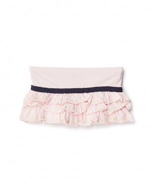 ピンク ビジュー付きティアードスカート見る