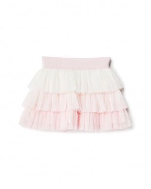 シロ×ピンク 配色チュールスカート見る