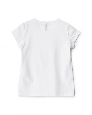 シロ  リボン付きフラワーTシャツ見る