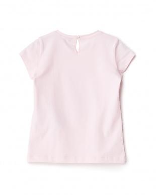 ピンク  リボン付きフラワーTシャツ見る